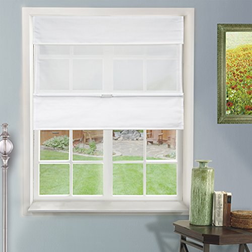 Chicology Cordless Magnetic Roman Shades / Window Blind Fabric Curtain Drape, Light Filtering, Privacy - Daily White, 39'W X 64'H