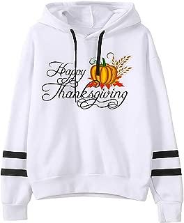 Eoeth Women Thanksgiving Print StripesLong Sleeve Sweatshirt Hooded Drawstring Pullover Tops Blouse Shirt T-Shirts