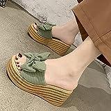 WENHUA Baño Antideslizantes Sandalias Zapatillas, Mujeres Zapatos de Piscina Chanclas de Playa, Pendiente con Pantuflas de Lazo de Fondo Grueso Femenino, Green_35