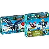 PLAYMOBIL DreamWorks Dragons HIPO Y Desdentao con Bebé Dragón, A Partir De 4 Años (70037) + Astrid con Globoglob