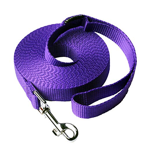 Siumouhoi Dog/Puppy Obedience Recall Training Agility Lead- 15 ft 20 ft 30 ft 40 ft 50 ft Dog Leash Long line -Training Leash, Extended Rope for Training. (15Feet, Purple) Dog Training Lead Leash