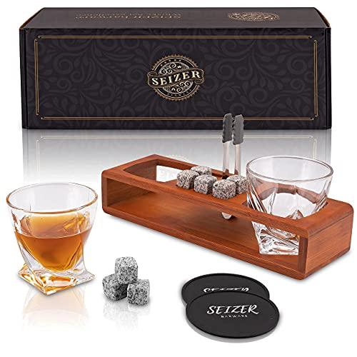 SEIZER Whisky Gläser set & Whisky Steine Set / 2 Whiskygläser 8 Whisky Steine im Holzgestell + Geschenkbox / Geschenke für Männer / Whisky Geschenkset / Geschenkidee / Kristallgläser