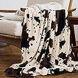 Yiyhuxf Cow Print Blanket Animal Brown Black Milky White Faux Fur Throw Blankets Western Cute Flannel Fleece Decorative Bed Sofa Office Blanket 60'x50'