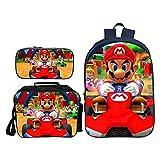 QWEIAS 3Pcs Mochila para niños - Super Mario Bros 3D Mochila Escolar para niños - 16 Pulgadas Mochila para niñas - Mochila Ligera para Estudiantes - Regalo L