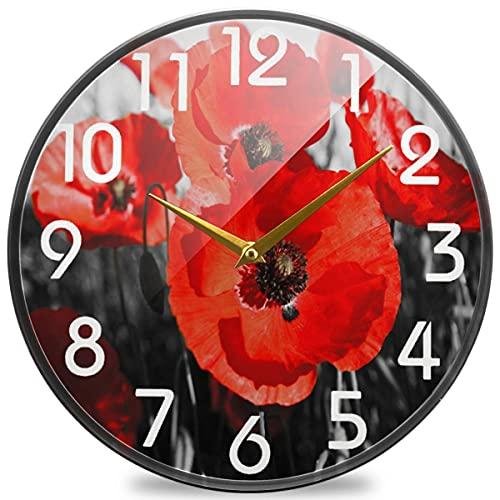 Precioso Reloj de Pared Redondo para Mujer Joven en el baño, Reloj de Escritorio silencioso analógico de Cuarzo con Pilas de 10 Pulgadas para el hogar, la Oficina, la Escuela, la Cocina, la cafetería