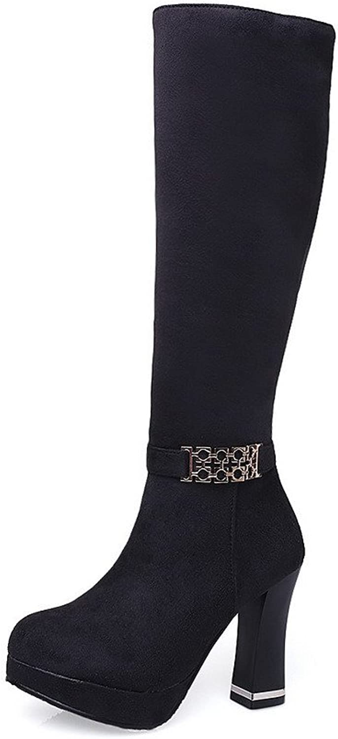 WeiPoot Women's Mid Top Zipper Frosted High Heels Round Closed Toe Boots