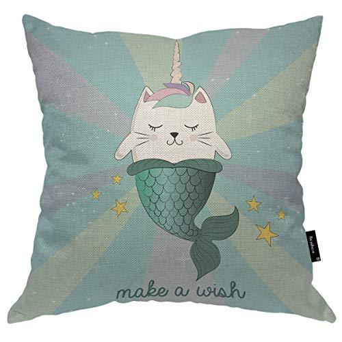 Seemuch Funda de cojín con diseño de unicornio de gato, diseño de sirena, divertida, mágica con ojos cerrados, para dormitorio, oficina, 40,6 x 40,6 cm