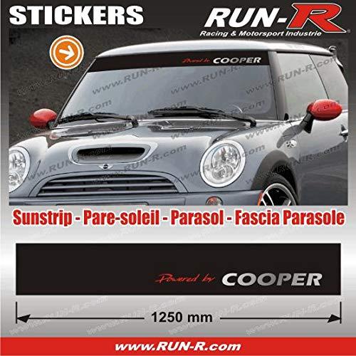 MI421 - 1 pare-soleil POWERED BY COOPER - Fond NOIR lettres ROUGES et ARGENT - 125 cm Run-R Stickers