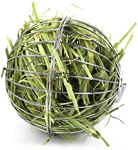 Rabbit Hay Feeder Grass Play Hay Ball Chew Toy 2 in 1 Stainless Steel Food and Grass Frame Bowls product image