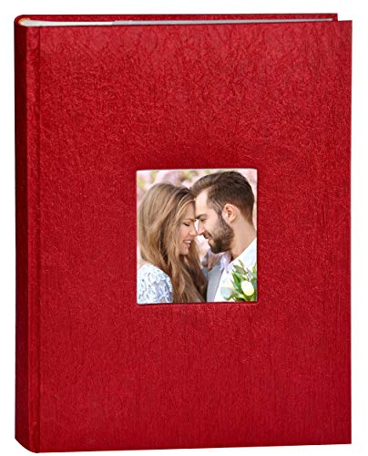 Zoview Art Photo Album, 300 Pocket 4x6 Photos, 3 per Page, Wedding Family Baby Holiday Photo Album Christmas, Vacation, Anniversary Photography Book, N55059 (Red, 300 Photos)