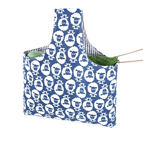 Teamoy Knitting Tote Bag, Travel Canvas Project Wrist Bag for knitting Needles(up to 14 Inches), Yarn and Crochet Supplies, Multipurpose, Perfect Size for Knitting on The Go (Large, Sheep)
