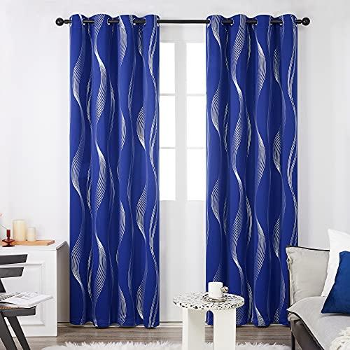 deconovo Cortinas Salon Opacas para Habitación Matrimonio Moderno de Líneas Curvas Plateadas con Ojales 2 Piezas 140 x 175 cm Azul Oscuro