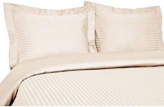 1000 Thread Count Three (3) Piece Queen Size Stripe Duvet Cover Set, 100% Egyptian Cotton, Premium Hotel Quality Queen Off-white COMIN16JU012732