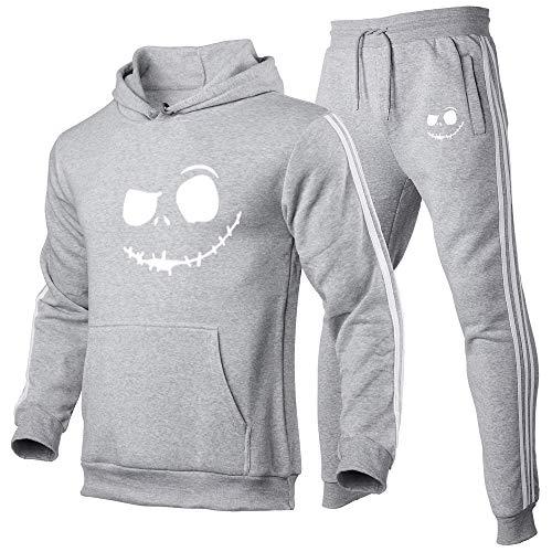 Sudadera con Capucha de Halloween Pumpkin Jack Face Sudadera de Manga Larga Invierno Grueso Cálido Abrigo de Bolsillo de Gran tamaño Sudadera con Capucha Informal + Conjunto de Pantalones