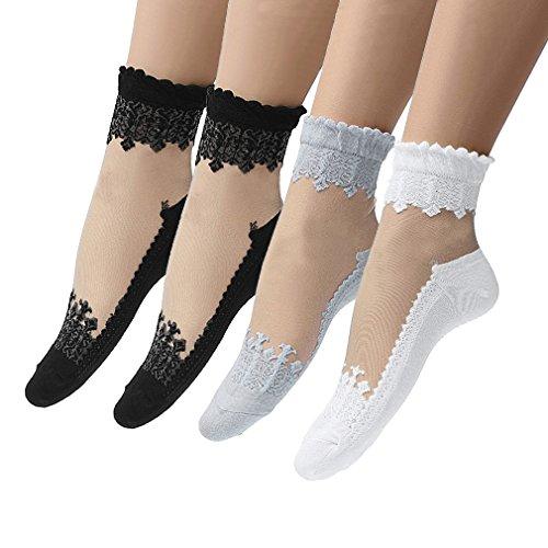 Hikong Damen 4 Paare Kurz Netzstrumpf Kristall Spitze Socken Söckchen Transparente Lace Strumpf Spitzensocken Gothic Sommer Schwarz, E, Einheitsgröße