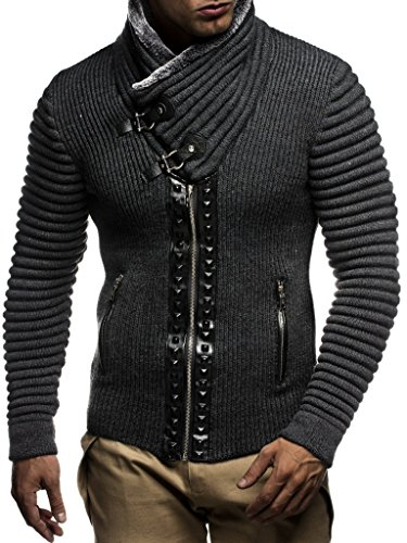 Leif nelon LN5165 Mens Cardigan With Stud Details and Zip Front,Anthracite Black,US-L,EU-XL