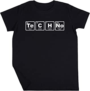 Tecno - Periódico Mesa Niño Niña Unisexo Negro Camiseta Manga Corta Kids Black T-Shirt