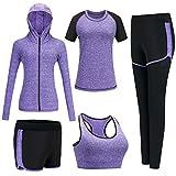 Conjunto Chandal Mujer Completo Conjuntos Deportivos para Mujer Deporta Ropa Chándal Traje Deportivo de jogging Yoga Set Conjunto de Gimnasio Ejercicio Entrenamiento Fitness Tenis (#Púrpura, XL)
