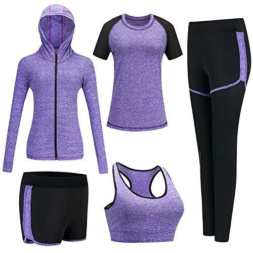 BOTRE Vêtement de Sport Yoga Costumes Femme 5 Pièces Ensembles Sportswear Costumes de Sport Gym Course Athletisme Fitness Jogging Survêtements (Violet, XL, x_l)