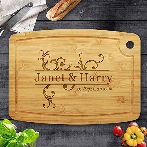 Personalised Bamboo Chopping Board Cheese Board Bamboo Cutting Board Wedding Gifts for The Couple,Engagement Gifts,Gift for Parents Custom Anniversary,Birthday,Christmas