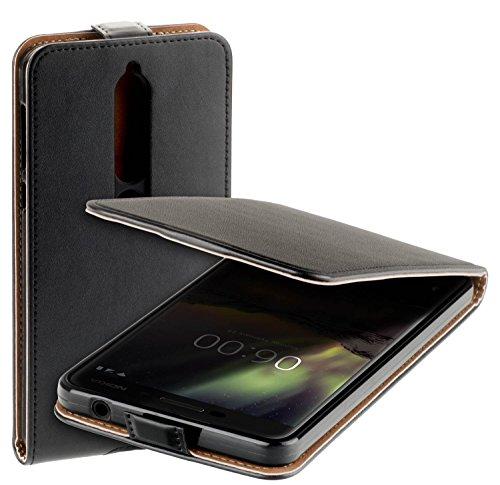 yayago Flip Tasche für Nokia 6 (2018) Schutzhülle Flip Hülle Hülle Klapphülle Schwarz
