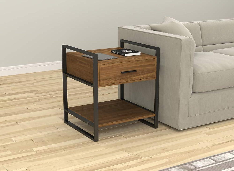 Safdie & Co. 81044.Z.79 Accent Table-Rustic Wood Black Metal,