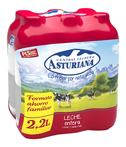 Central Lechera Asturiana Leche Entera - Paquete de 6 x 2200 ml - Total: 13200 ml