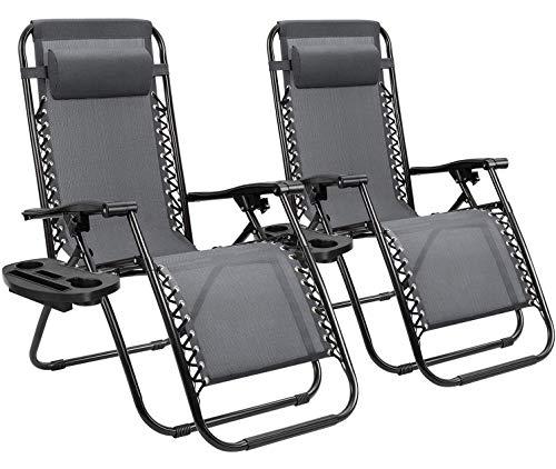 Homall Zero Gravity Chair Patio Folding Lawn Lounge Chairs Outdoor Lounge Gravity Chair Camp...