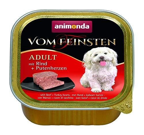 animonda Vom Feinsten Adult Hundefutter, Nassfutter für ausgewachsene Hunde, mit Rind + Putenherzen, 22 x 150 g