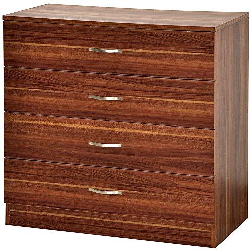 Vida Designs Riano Kommode mit 4 Schubladen, Walnuss, Ablage, Kleiderschrank, Garderobe, Aufbewahrung, Verstauung