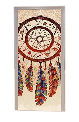 A.Monamour Türtapeten Selbstklebend 3D Stammes-Ethnischen Handgezeichneten Traumfänger Mit Feder Boho Hippie Kunst Dekor Drucken Türtapete Türposter Tapete 77x200cm