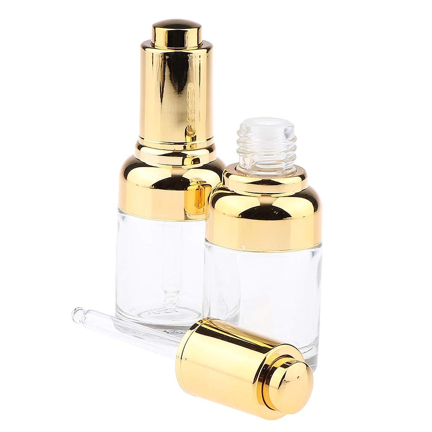 モーター物思いにふける産地F Fityle 2個 ガラス瓶 ドロッパーボトル エッセンシャルオイルディスペンサー 香水ピペット バイアル 30ml