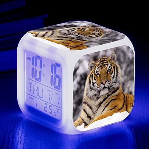 Totots Dibujos Animados de Reloj de Alarma Animal: Tigre Siberiano, luz de Noche LED Colorida, Reloj de sueño de Anime Tigre, Mini Adornos de Escritorio, Reloj Cuadrado