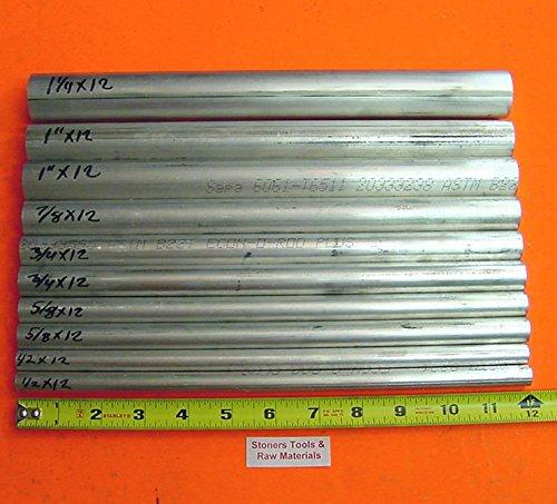 10 Pieces 6061 T6 ALUMINUM ROUND ROD ASSORTMENT 1/2