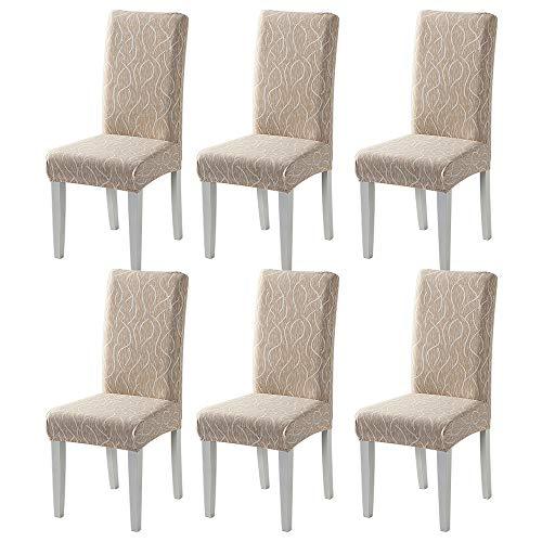 TMILIATRAY Stuhlhussen 6er Set Universal Stretch Abnehmbare Stuhlbezug für das Esszimmer Moderne Elastische Stuhlschutzdekoration für Büro Bankette Hochzeitsfest Stuhl überzug(6 Stück,Beige Linie )