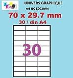 100 A4 hoja 30 etiqueta de papel etiqueta adhesiva 70 x 29,7 mm para las impresoras de chorro de tinta y láser