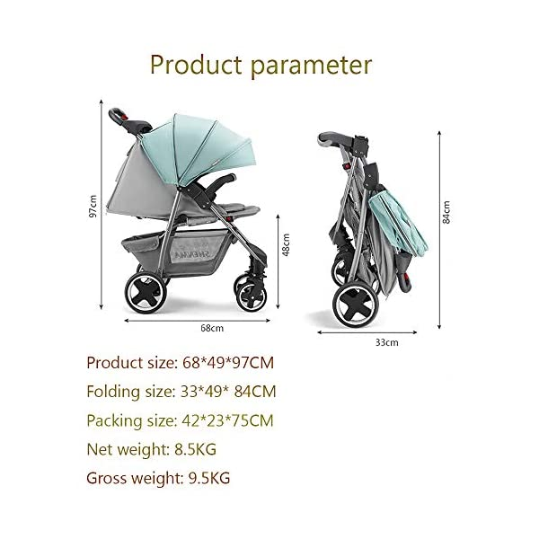 JINGQI Lightweight Folding Stroller Baby Stroller Children Can Sit And Recline Baby Portable Shock-Absorbing Trolley,Applicable Age 0-3 Years Old,Green JINGQI High-quality design: built-in shock absorber spring, flexible universal wheel, 360 degree rotation, PU wear-resistant shock-absorbing tires, five-point safety belt, detachable armrest, large storage basket, temporary storage rack Spacious seat, suitable for babies from 0 to 3 years old, sitting and lying freely, comfortable travel, cockpit and pedals can be adjusted Full sunshade, shelter children from wind and rain, and accompany them to travel safely 2
