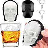 Extra Large 3D Skull Ice Cube Mold for Whiskey, Silicone Skull Ice Maker Mold with Funnel, Sugar Skull Mold for Baking, Reusable and BPA Free (2Pack, Black)