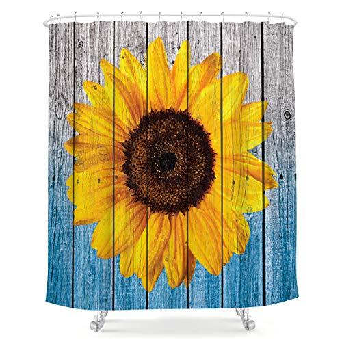 LIGHTINHOME Sonnenblumen-Duschvorhang aus Holz, rustikal, hellgelb, natürliche Frühlingspflanze, Farbverlauf, blauer Stoff, wasserdicht, Badezimmer, Heimdekor, 183 x 183 cm, 12 Kunststoffhaken