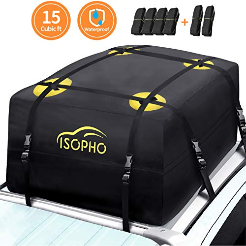 ISOPHO Rooftop Cargo Carrier, 15 Cubic ft Waterproof Car Top Carrier with 6 Heavy-Duty Straps, Excellent Military Quality Roof Cargo Bag for Cars with or Without Racks, Resist Outdoor Dust, Storm