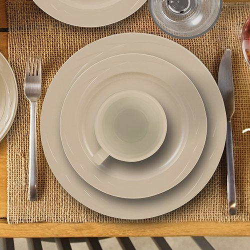 ThermoServ 16 Piece Melamine Dinnerware Set - Chef's Collection - Classic - Putty