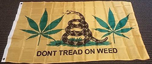 Ruffin 3x5 Yellow Gadsden Dont Tread on Weed Flag Banner Marijuana Pot Tea Party