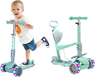 5 In 1 Kids Kick Scooter,Adjustable Scooter for Toddlers 1-6 Years Old Boy and Girls Support 50 kg