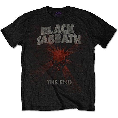 Black Sabbath Men's tee: The End Mushroom Cloud Camiseta, Negro, L para Hombre