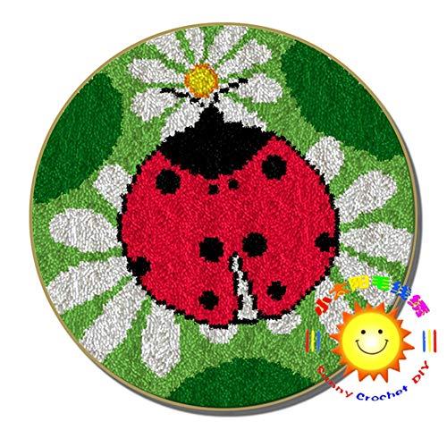 Kit para cojín de Ganchillo 2 Piezas Redondas Alfombra Bordado Lo Hace Latch Hook Kit De Impresión De Dibujos Animados Alfombra,b,52cm/20 Inch