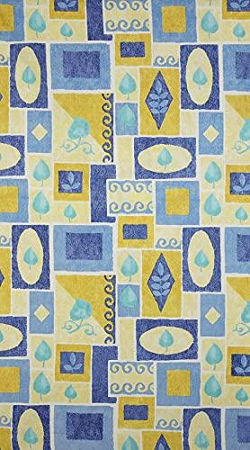 Kt KILOtela Tela por Metros de sábana Estampada - Algodón y poliéster - Retal de 300 cm Largo x 270 cm Ancho | Hojas, Cuadros - Azul, Amarillo - 3 Metros