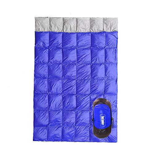 Lixada Saco de Dormir de Plumón de Pato de Doble Capa Desmontable para Exteriores/Saco de Dormir de sobre Compacto Ultraligero/Impermeable, para 1-2 Personas