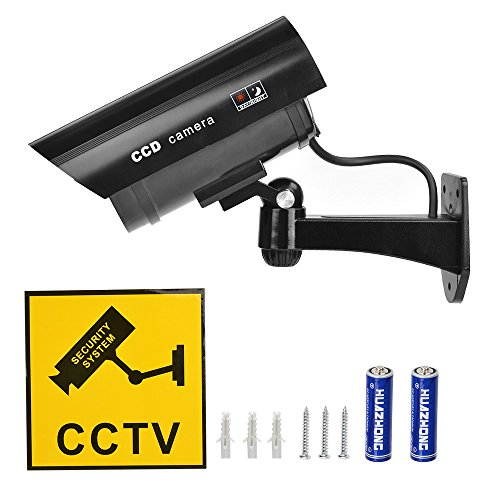 2 Stück Attrappe Kamera CCTV Dummy Überwachungskamera mit Rot Blinkender LED Fake Sicherheitskamera - Schwarz