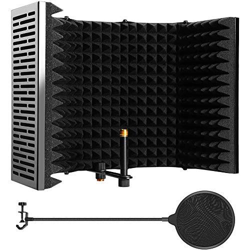 Micrófono Mic Aislamiento Escudo De Absorción De Sonido De Pantalla De Espuma De Insonorización Plástico De La Cubierta Del Micrófono Insonorizadas Con Micrófono Pop Filter (negro Cinco Puertas)