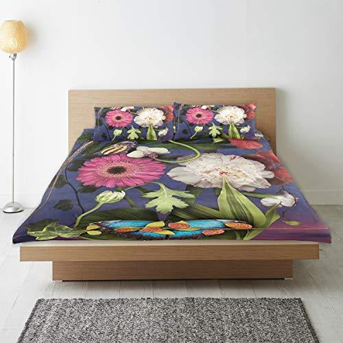 DEZIRO - Juego de funda de edredón para adolescentes, diseño de hojas de pintura al óleo, algodón natural puro, tamaño individual con 2 fundas de almohada para decoración de dormitorio de niños, juego de cama de 3 piezas